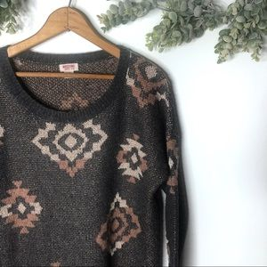 Mossimo Supply Co Shimmer Tribal Crew Neck Sweater